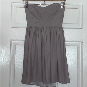Parker — Gray Strapless Dress Small